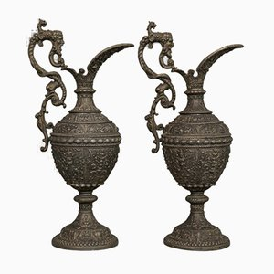 Antique French Bronze Ewers, Set of 2