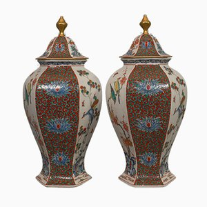 Frascos de especias vintage hexagonales de cerámica, años 50. Juego de 2