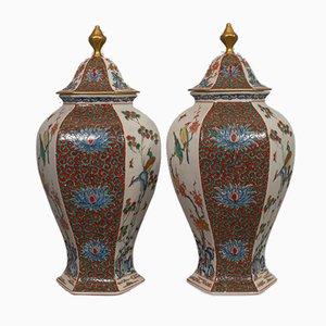 Vasetti esagonali vintage in ceramica, anni '50, set di 2