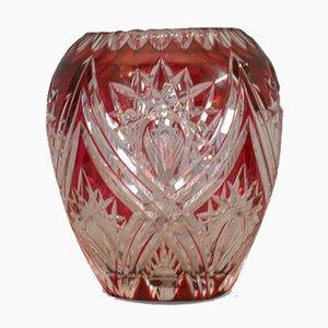 Vaso vintage in vetro inciso di Royal Brierley Crystal, Regno Unito, anni '40