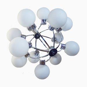 Lámpara de araña era espacial de vidrio y metal cromado de Kaiser Idell / Kaiser Leuchten, años 60