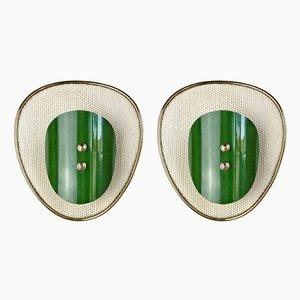 Applique in ottone e metallo laccato di Mathieu Matégot, anni '50, set di 2
