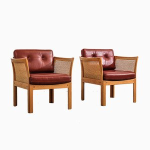 Oak and Cognac Leather Plexus Easy Chairs by Illum Wikkelsø for CFC Silkeborg, 1970s, Set of 2