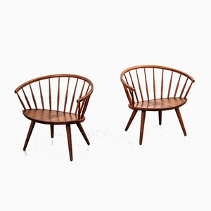 Swedish Arka Oak Lounge Chairs by Yngve Ekström for Stolab, 1950s, Set of 2