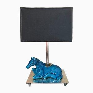 Blaue Mid-Century Tischlampe aus Keramik mit Fuß in Pferde-Optik, 1960er