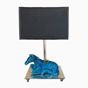 Mid-Century Blue Ceramic Horse Table Lamp, 1960s