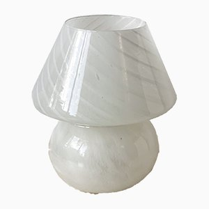 White Glass Mushroom Table Lamp, 1970s