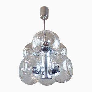 Lámpara de araña era espacial de vidrio y metal cromado de VEB Deutsche Werkstätten Hellerau, años 60