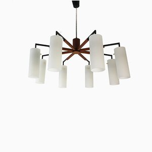 Lámpara de araña de teca y vidrio esmerilado, años 60