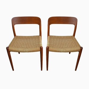 Model 75 Teak and Paper Cord Dining Chairs by Niels Otto Møller for J.L. Møllers, 1960s, Set of 2