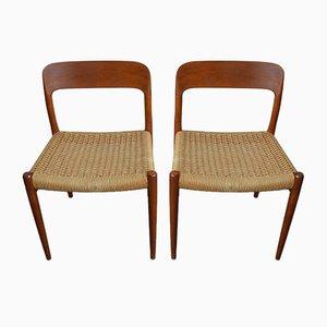 Modell 75 Esszimmerstühle aus Teak & Papierkordelgeflecht von Niels Otto Møller für J-L- Møllers, 1960er, 2er Set