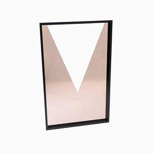 Maßgefertigter rechteckiger Spiegel mit schwarzem Rahmen, 1983