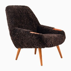 Danish Sheepskin Lounge Chair, 1950s