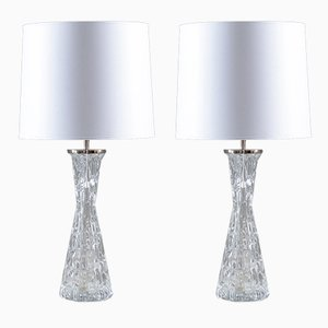 Mid-Century Swedish Table Lamps by Carl Fagerlund for Orrefors, Set of 2