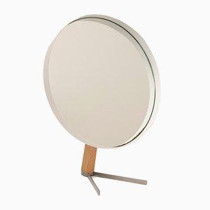 Espejo de tocador grande blanco de teca de Owen F. Thomas para Durlston, años 60