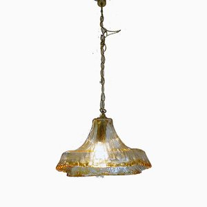 Italian Murano Glass and Brass Chandelier by Carlo Nason for Mazzega, 1960s
