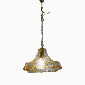 Lámpara de araña italiana de cristal de Murano y latón de Carlo Nason para Mazzega, años 60
