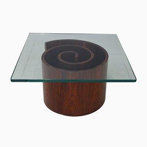 Tavolino da caffè in vetro con base a spirale di Vladimir Kagan, anni '60
