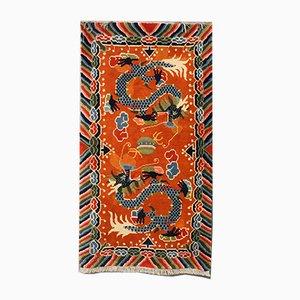 Antiker tibetischer Teppich mit Drachenmotiv