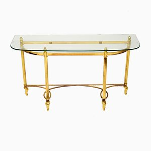 Brass and Glass Console Table, 1970s