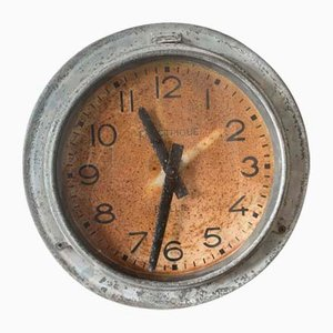 Mid-Century Industrial French Zinc Clock by Brillie, 1950s