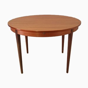 Round Extendable Teak Dining Table, 1950s