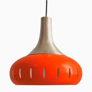 Orangene Hängelampe aus Metall, 1960er