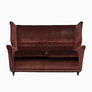 Italian Red Corduroy Velvet 2-Seater Sofa by Melchiorre Bega, 1950s