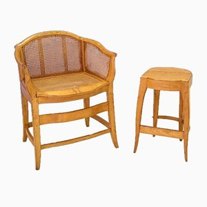 Blonde Oak and Rattan Glider and Ottoman, 1920s, Set of 2