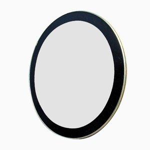 Runder Spiegel mit schwarz-goldenem Rahmen, 1960er