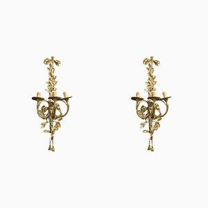 Apliques italianos de bronce dorado y latón, años 50. Juego de 2