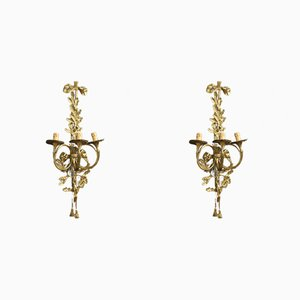 Italian Gilt Bronze and Brass Sconces, 1950s, Set of 2