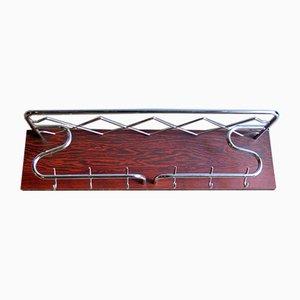 Chromed Rosewood Veneer Coat Rack, 1950s
