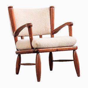Swedish Sater Pine Lounge Chair by Gunnar Göperts for Göperts Möbler, 1940s