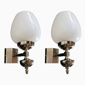 French Chromium and Opal Glass Sconces, 1970s, Set of 2