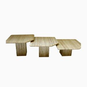 Tables d'Appoint en Travertin, 1970s, Set de 3