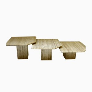 Travertine Side Tables, 1970s, Set of 3