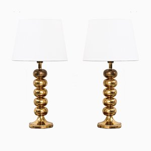 Swedish Brass Table Lamps by Uno Dahlén for Aneta, 1960s, Set of 2
