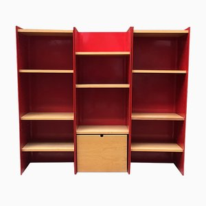 Italian Red Enameled Metal Shelf from Arflex, 1970s