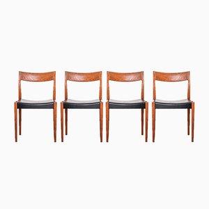 Kontiki Esszimmerstühle aus Teak von Yngve Ekström für Hugo Troeds, 1960er, 4er Set