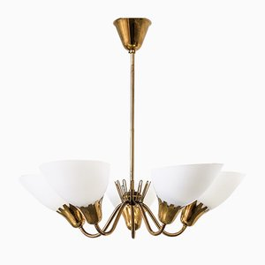 Swedish Brass and Opaline Glass Chandelier, 1950s