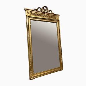 Espejo de pared francés de madera dorada, siglo XIX