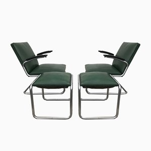 Tubular Steel Armchairs and Stools Set from Drabert, 1940s