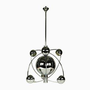 Große verchromte Space Age Sputnik Hängelampe, 1950er