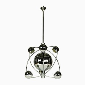 Large Space Age Chrome Sputnik Pendant Lamp, 1950s