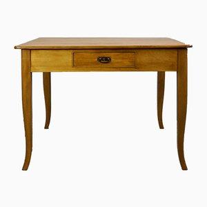 Mesa de comedor Biedermeier antigua de madera blanda y mármol