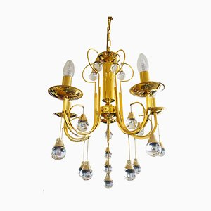 Italian Crystal and Brass Chandelier by Gaetano Sciolari for Sciolari, 1960s