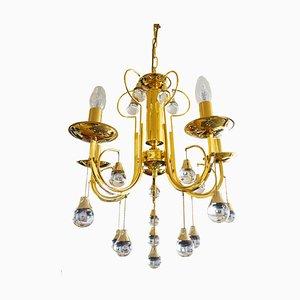 Lámpara de araña italiana de cristal y latón de Gaetano Sciolari para Sciolari, años 60