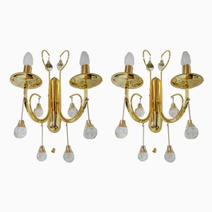 Italian Crystal and Gilded Brass Sconces by Gaetano Sciolari for Sciolari, 1960s, Set of 2