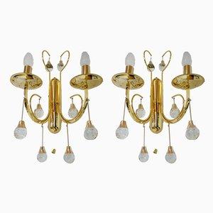 Italienische Wandlampen aus Kristallglas & vergoldetem Messing von Gaetano Sciolari für Sciolari, 1960er, 2er Set